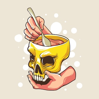 Brain soup with a skull bowl