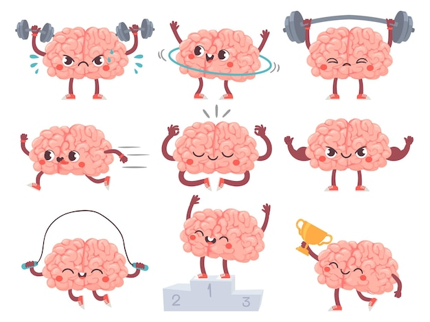 Brain and sport. comic brains sports activities, training achievements iq metaphor, mental exercise, fitness cartoon vector characters. sport brain character, workout and train illustration
