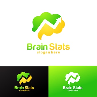 Brain stats logo design template