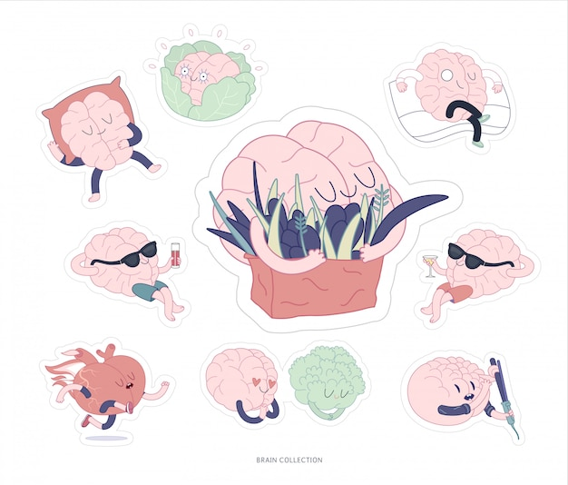 Brain sticker feed and leisure printable set
