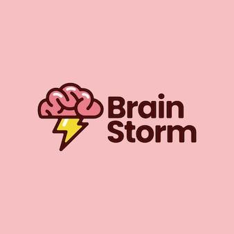 Brain storm idea think flash creative logo vector icon illustration