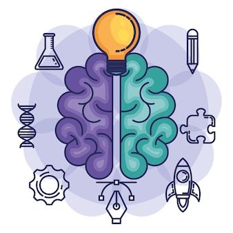 Brain storming set icons