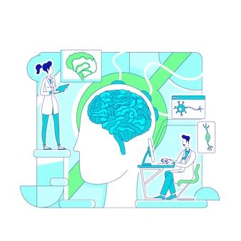 Brain study thin line concept