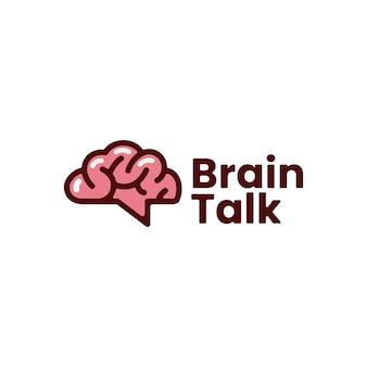 Brain talk idea think forum chat creative logo vector icon illustration