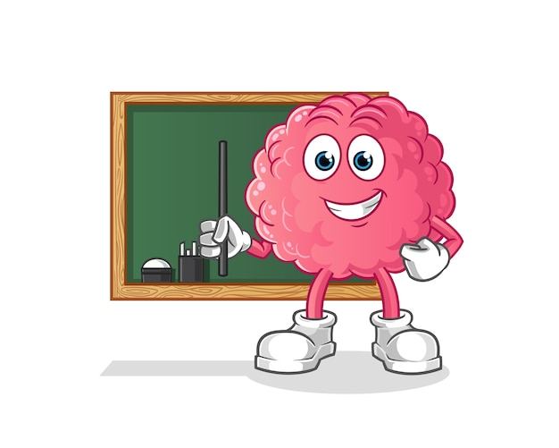 Brain teacher . cartoon character