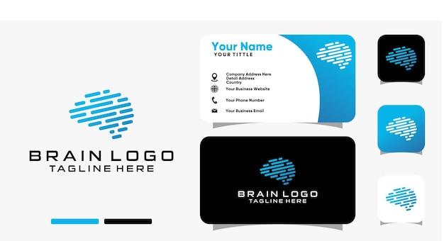 Brain tech logo and business card design vector template