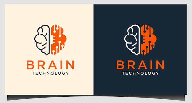 Мозг tech логотип дизайн вектор