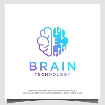 Brain tech logo design vector