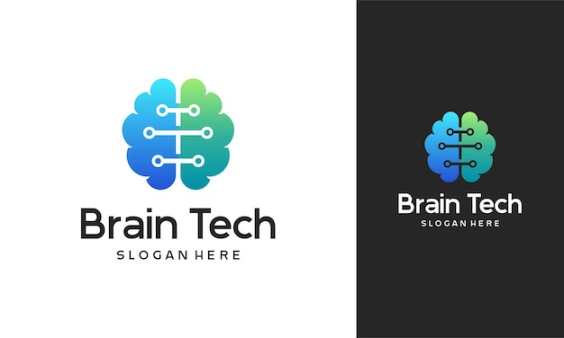 Brain techロゴデザイン、mind technologyロゴ、roboticbrainロゴテンプレート