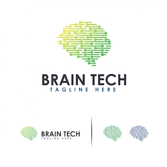 Brain tech logo mind technology logo, robotic brain logo template