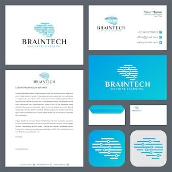 Логотип мозговой технологии с визитной карточкой