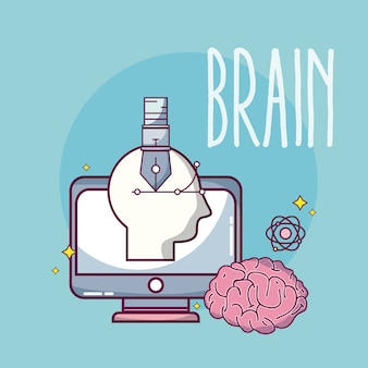 Brain and technology concept cartoons