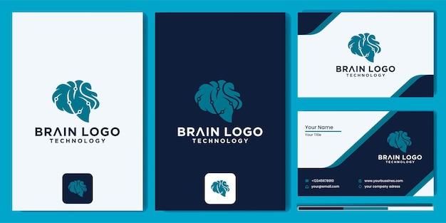 Brain technology logo design digital brain logo template set of brain logotype abstract dots and lines concept. logo for science innovation, p, new technology development, human brain health.