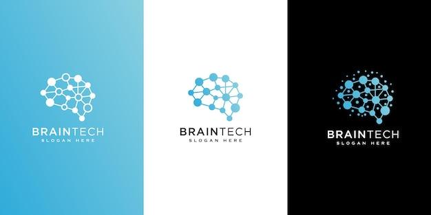 脳技術ロゴデザインラインスタイル