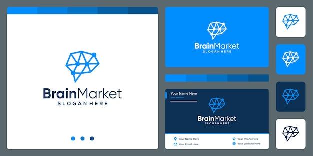 金融投資分析と名刺デザインテンプレートを備えた脳技術ロゴ