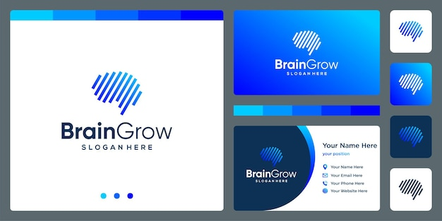 Brain technology logo with growth investment arrow and business card design template