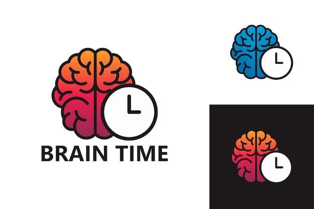 두뇌 시간 로고 템플릿 프리미엄 벡터