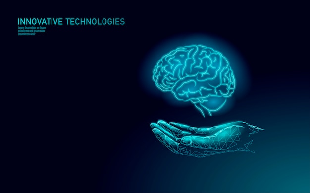 脳治療レンダリング。医療ハンドドラッグメンタルヘルスの概念。アルツハイマー病センターバナーテンプレート患者の認知リハビリテーション