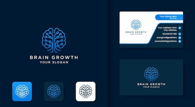 Дизайн логотипа мозгового дерева с контурной линией и дизайном визитной карточки
