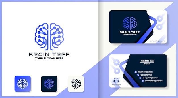 Концепция схемы использования логотипа дерева мозга и дизайн визитной карточки
