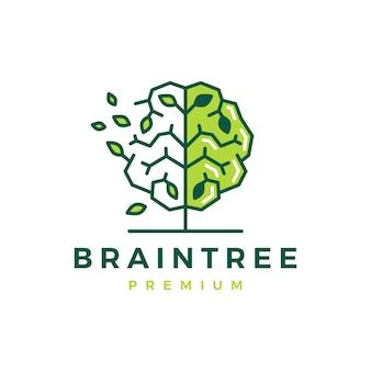 두뇌 나무 스마트 자연 잎 로고 템플릿