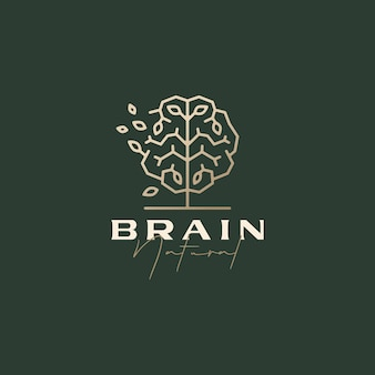 두뇌 나무 똑똑한 자연 잎 정교한 미적 로고 템플릿