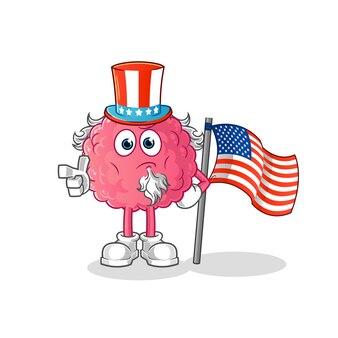 Brain uncle sam character. cartoon mascot