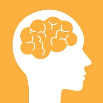 뇌 벡터 아이콘입니다. 간단한 실루엣 기호입니다.