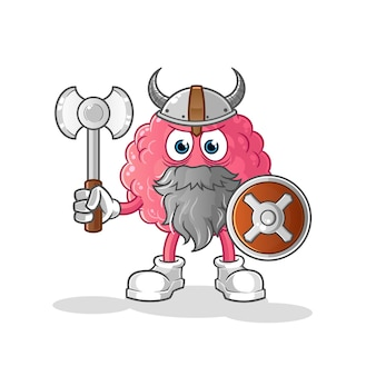Мозг викинга с топором иллюстрации. персонаж