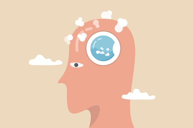 Brain wash by medias or advertising information, make someone to believe, manipulate thought, control how people think concept, human head with washing machine in action to clean his brain.