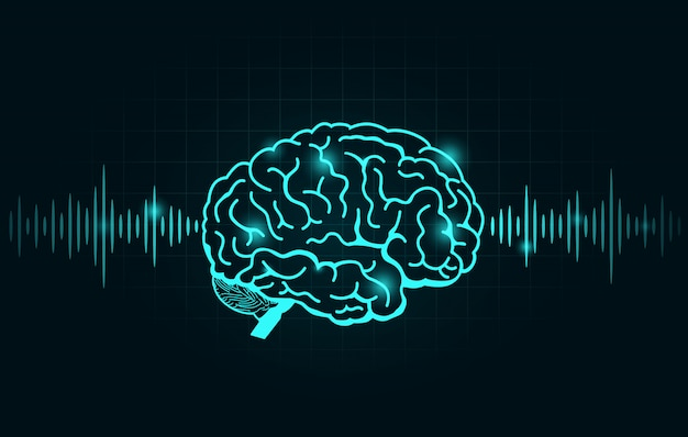 Brain wave and frequency line on black graph