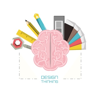 Brain with design thinking related icons