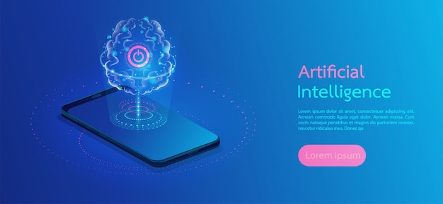 Brain with digital circuit artificial intelligence landing page