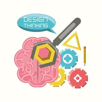 ギアとツールのアイコンを持つ脳