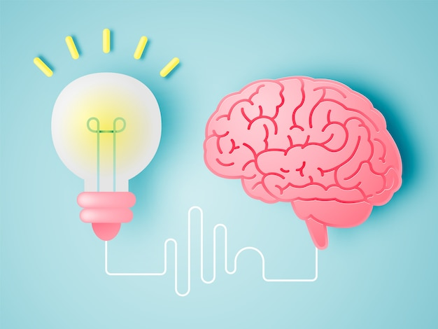 Brain with idea concept in paper art style