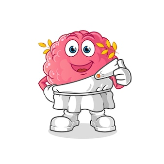 Brain with traditional greek clothing cartoon. cartoon mascot