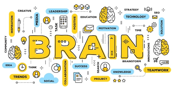 뇌, 라인 아이콘 및 태그 클라우드가있는 노란색 단어 글자 인쇄술