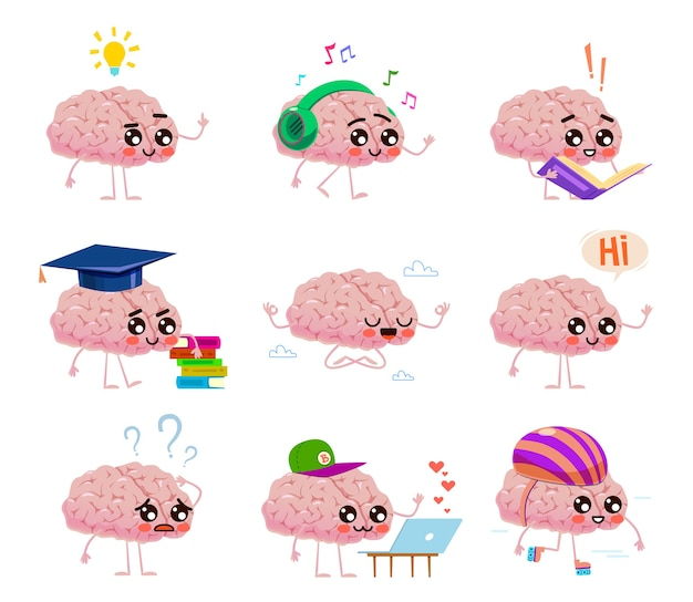 두뇌 캐릭터는 책을 읽고, 음악을 듣고, 롤러를 타고 구름 속에서 명상을합니다. 창의적인 아이디어와 교육 생각 귀여운 얼굴 만화 개념