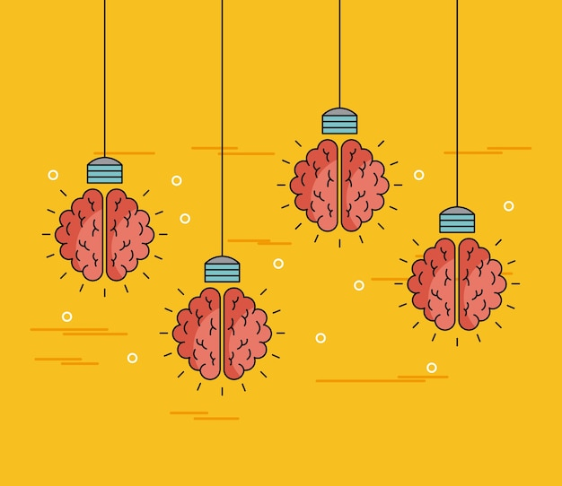 Brains hanging ideas illustration