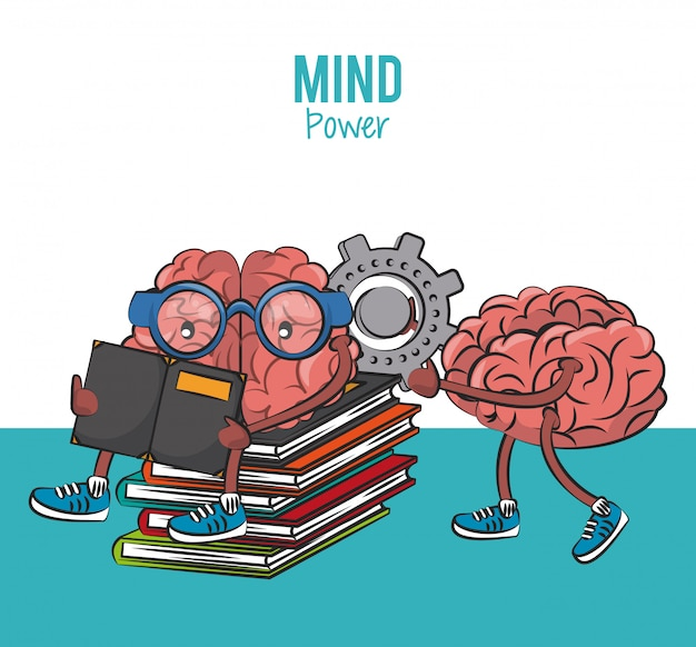 Brains seated on books piled and holding gear cartoon vector illustration graphic design