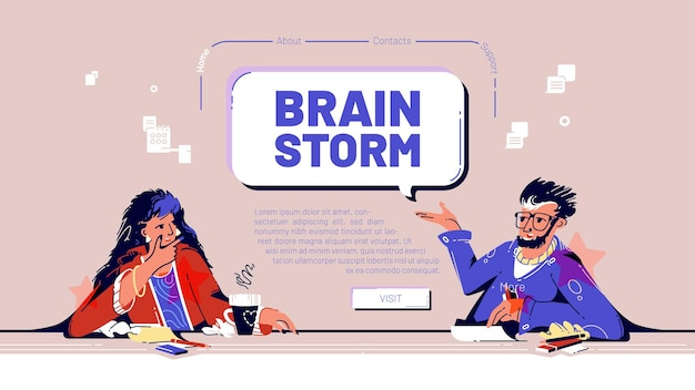 Brainstorm banner with team meeting in company office