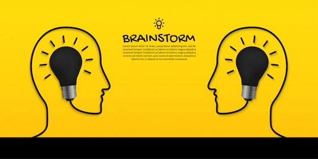 Brainstorm concept with two human heads and light bulb on yellow background