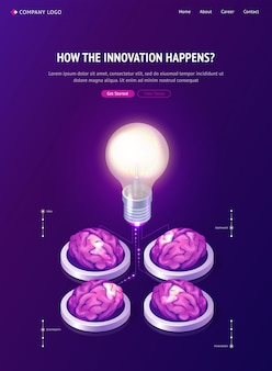 Brainstorm idea isometric landing page, web