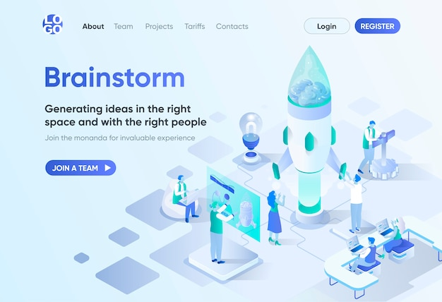 Brainstorm isometric landing page. business idea generation and presentation, create new solution. brainstorming session template for cms and website builder. isometry scene with people characters.