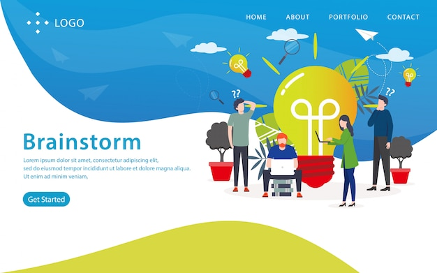 Brainstorm landing page, website template, easy to edit and customize, vector illustration