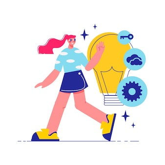 Brainstorm team work composition with character of walking woman with lamp bulb with gear key and cloud icons illustration