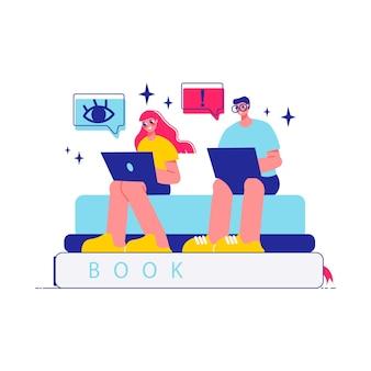 Составьте коллективную работу мозгового штурма с персонажами женщины и мужчины, работающими с ноутбуками, сидя на стопке книг