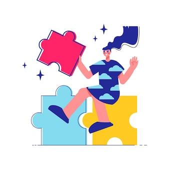 Fai un brainstorming sulla composizione del lavoro di squadra con un personaggio femminile seduto sopra l'illustrazione dei pezzi del puzzle