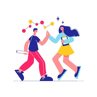 Мозговой штурм командной работы с персонажами мужского и женского пола, пожимающими руки с иллюстрацией молекулярной структуры