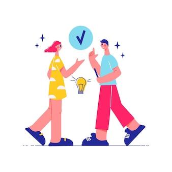 完了したサインと電球のイラストで男性と女性のキャラクターとチームワーク構成をブレインストーミング